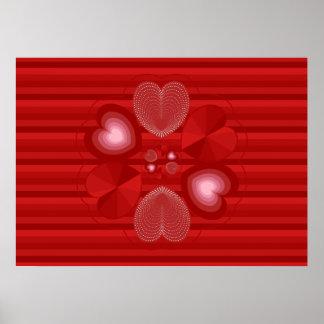 Guirnalda del corazón en rayas rojas póster