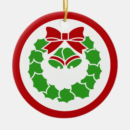 Guirnalda del día de fiesta adorno navideño redondo de cerámica