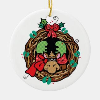 Guirnalda del día de fiesta de los alces adorno navideño redondo de cerámica