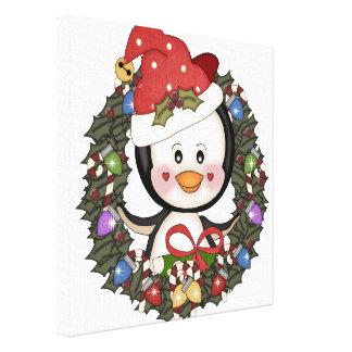 Guirnalda del día de fiesta del pingüino del navid impresiones en lona