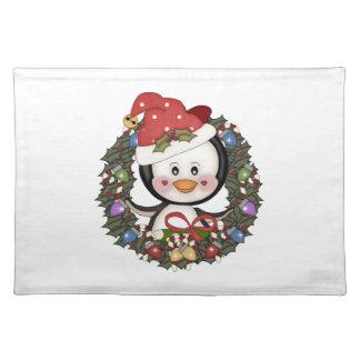 Guirnalda del día de fiesta del pingüino del navid mantel individual