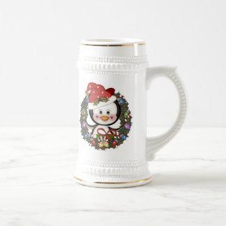 Guirnalda del día de fiesta del pingüino del navid tazas