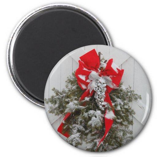 Guirnalda del granero del navidad imán redondo 5 cm