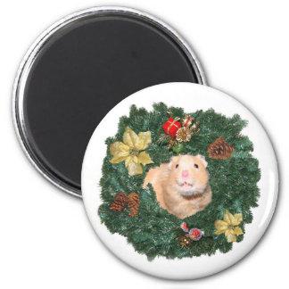Guirnalda del hámster y del navidad imán redondo 5 cm
