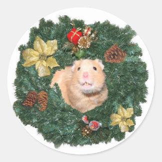 Guirnalda del hámster y del navidad pegatina redonda