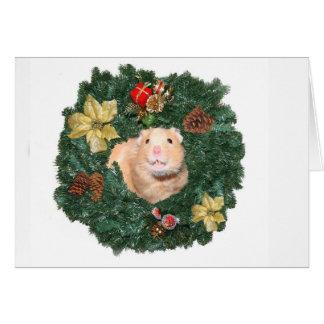 Guirnalda del hámster y del navidad tarjeta de felicitación