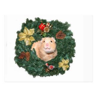 Guirnalda del hámster y del navidad tarjetas postales