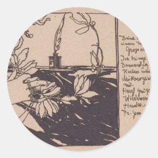 Guirnalda del laurel de Koloman Moser- Etiquetas Redondas