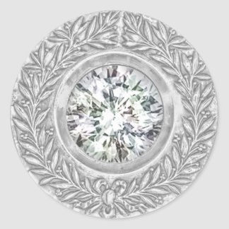 Guirnalda del laurel y sello de plata del sobre pegatina redonda