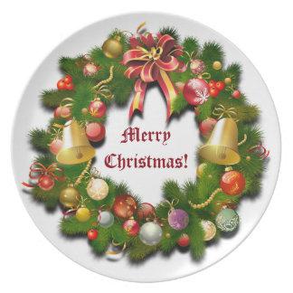 Guirnalda del navidad con el mensaje de encargo platos