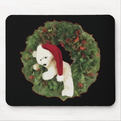 Guirnalda del navidad con el oso tapete de raton