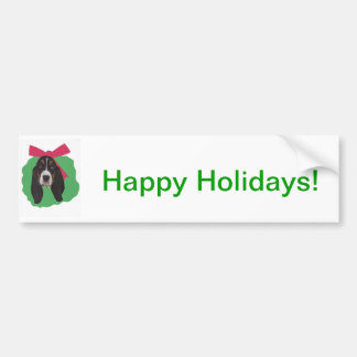 Guirnalda del navidad de Basset Hound Pegatina De Parachoque