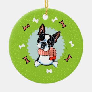 Guirnalda del navidad de Boston Terrier Adorno Navideño Redondo De Cerámica