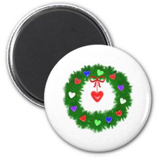 Guirnalda del navidad de corazones imán redondo 5 cm