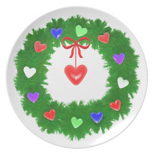 Guirnalda del navidad de corazones platos para fiestas