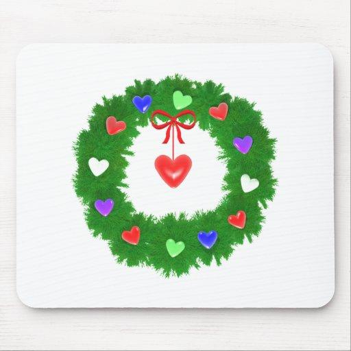Guirnalda del navidad de corazones alfombrilla de ratón
