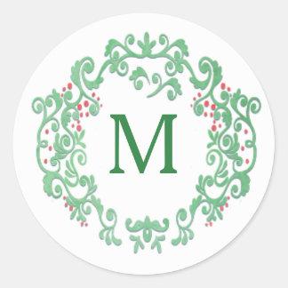 Guirnalda del navidad de la acuarela del monograma pegatina redonda