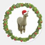 Guirnalda del navidad de la alpaca etiquetas redondas