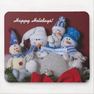 Guirnalda del navidad de la familia del muñeco de  tapetes de ratón