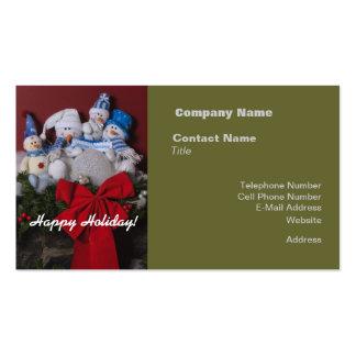 Guirnalda del navidad de la familia del muñeco de plantilla de tarjeta de negocio