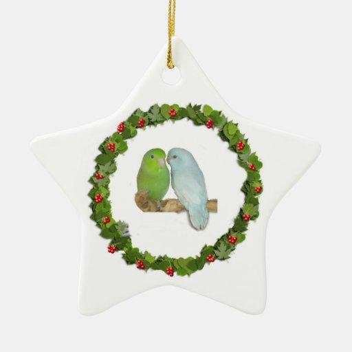 Guirnalda del navidad de los pares de Parrotlet Adorno De Cerámica En Forma De Estrella