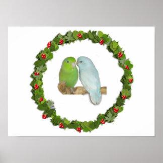 Guirnalda del navidad de los pares de Parrotlet Poster