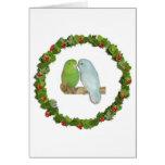 Guirnalda del navidad de los pares de Parrotlet Felicitación