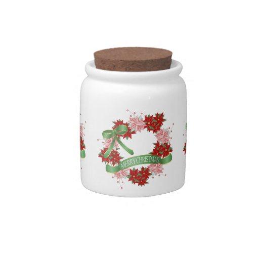 Guirnalda del navidad de Pointsettia con la cinta  Platos Para Caramelos