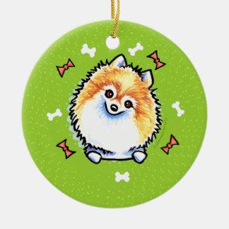 Guirnalda del navidad de Pomeranian Adorno Redondo De Cerámica
