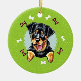 Guirnalda del navidad de Rottweiler Adorno Navideño Redondo De Cerámica