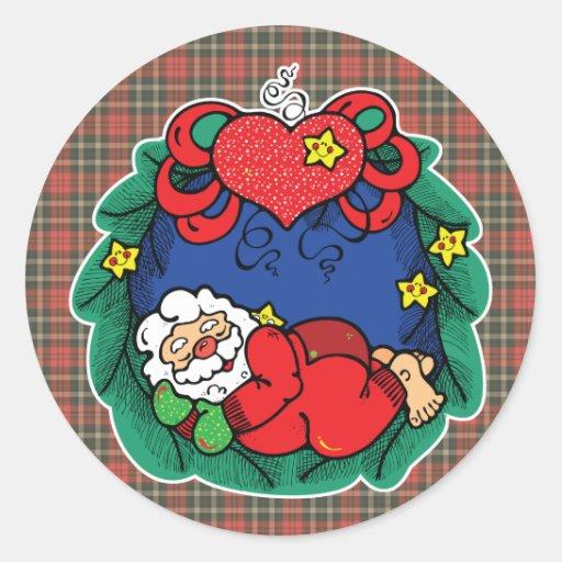 guirnalda del navidad de santa etiqueta
