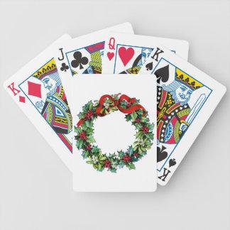 Guirnalda del navidad del acebo y del muérdago cartas de juego