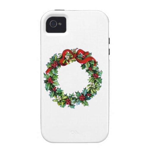 Guirnalda del navidad del acebo y del muérdago iPhone 4/4S fundas