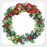 Guirnalda del navidad del acebo y del muérdago pegatinas cuadradas