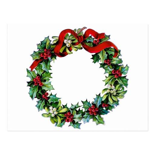 Guirnalda del navidad del acebo y del muérdago tarjetas postales