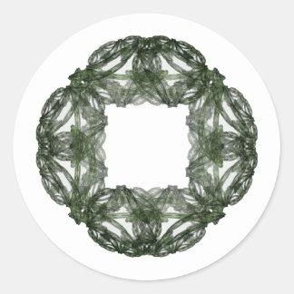 Guirnalda del navidad del arte del fractal pegatina redonda