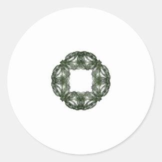 Guirnalda del navidad del arte del fractal etiquetas redondas