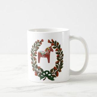 Guirnalda del navidad del caballo de Dala del Taza Básica Blanca