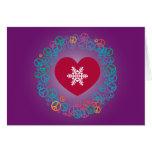 Guirnalda del navidad del copo de nieve de la paz  tarjetas