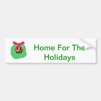 Guirnalda del navidad del día de fiesta del collie etiqueta de parachoque