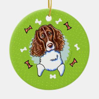 Guirnalda del navidad del perro de aguas de adorno redondo de cerámica