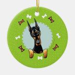 Guirnalda del navidad del Pinscher del Doberman Ornamentos De Reyes Magos