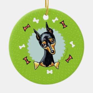 Guirnalda del navidad del Pinscher miniatura Ornamentos De Reyes Magos