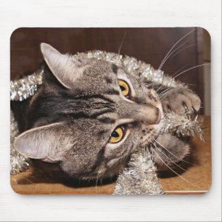 Guirnalda del navidad del Tabby Tapete De Ratones
