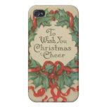 Guirnalda del navidad del vintage con deseos iPhone 4 cárcasas