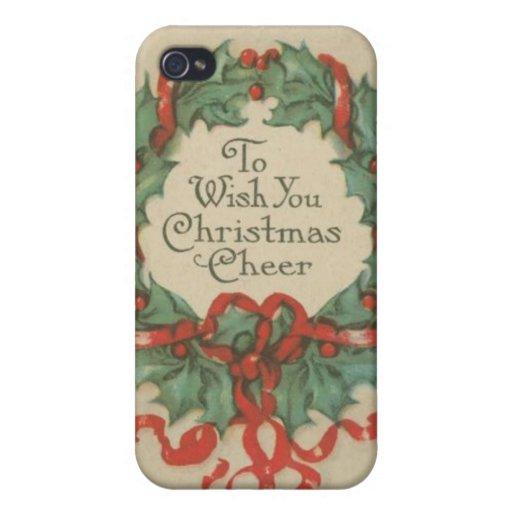 Guirnalda del navidad del vintage con deseos iPhone 4 carcasa