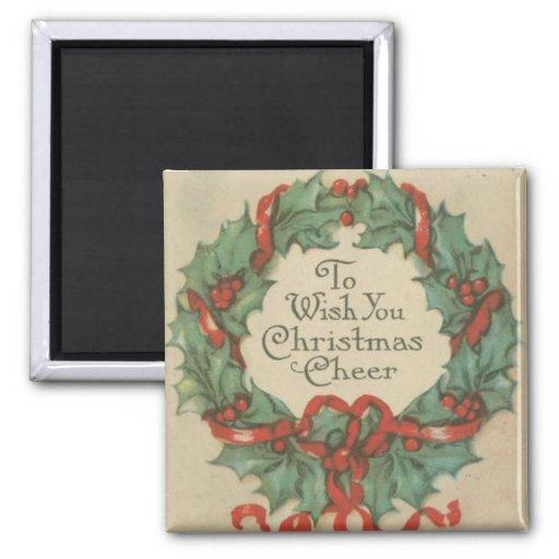 Guirnalda del navidad del vintage con deseos imán cuadrado