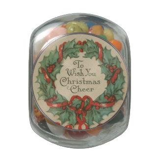 Guirnalda del navidad del vintage con deseos jarrones cristal