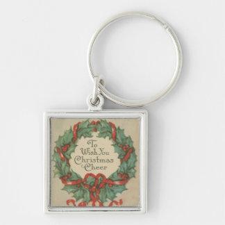 Guirnalda del navidad del vintage con deseos llavero personalizado