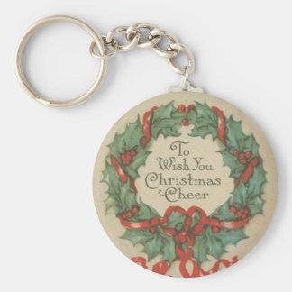 Guirnalda del navidad del vintage con deseos llavero redondo tipo pin